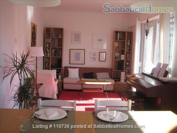 On a quiet, tree-lined street, fifth floor apartment with 2 bedrooms, 1 living-room, lots of sunshine, 3 balconies. Home Rental in Lisbon, Lisboa, Portugal 1