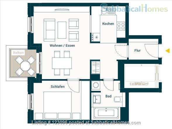 All inclusive, fully furnished, top-floor 2-room apartment with balcony - bright and quiet  in the very heart of Berlin Home Rental in Berlin, Berlin, Germany 9