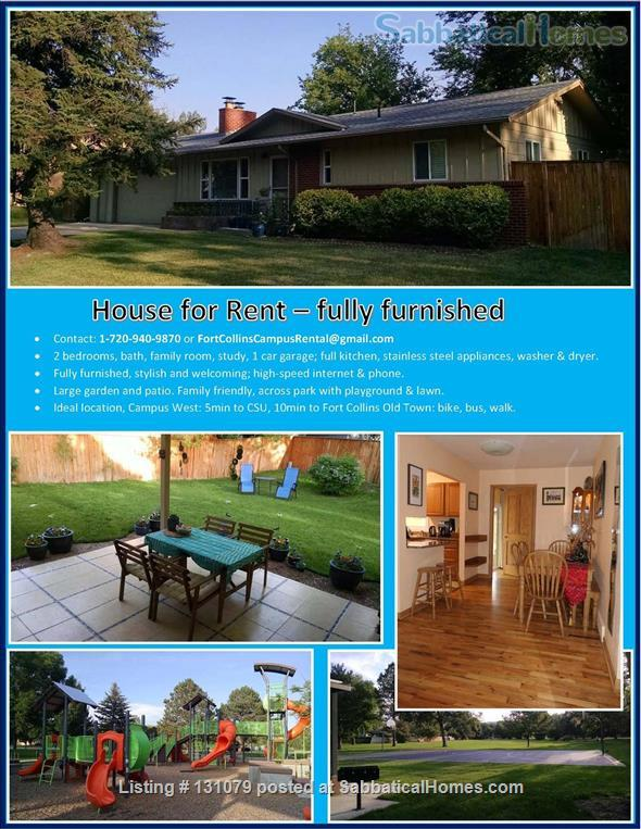 Furnished Family Home in Fort Collins, CO - walk to CSU and Old Town Home Rental in Fort Collins, Colorado, United States 0