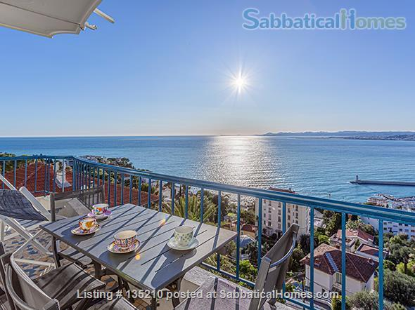 NICE, BEST AMAZING OCEAN VIEW. 2 bedrooms with A/C open on a terrace overlooking a forest. Private garage. Ideal for working from home with Dual Band Mesh wifi 6 system,  Standing desk and ergonomic chair Home Exchange in Nice, Provence-Alpes-Côte d'Azur, France 1
