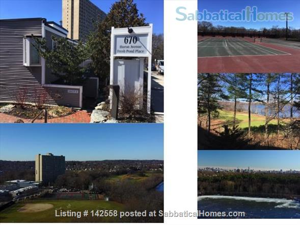 Contemporary two stories Condo (2BR + 2 BATH), fully furnished in the Fresh Pond Area. 1 mile from Harvard Sq. Utilities included with backyard, BBQ and indoors heated pool. Home Rental in Cambridge, Massachusetts, United States 9