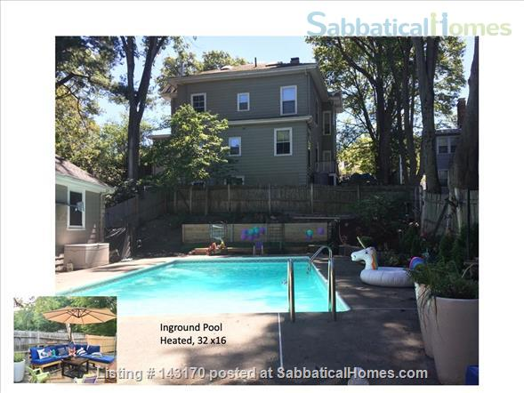 Furnished Private Family home in Newton Center 4 bed/2.5 bath home. Heated Inground Pool.  Oasis in the City.  Close to Harvard, Boston Universities and Longwood Medical Area. Home Rental in Newton, Massachusetts, United States 1