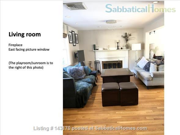 Furnished Private Family home in Newton Center 4 bed/2.5 bath home. Heated Inground Pool.  Oasis in the City.  Close to Harvard, Boston Universities and Longwood Medical Area. Home Rental in Newton, Massachusetts, United States 2