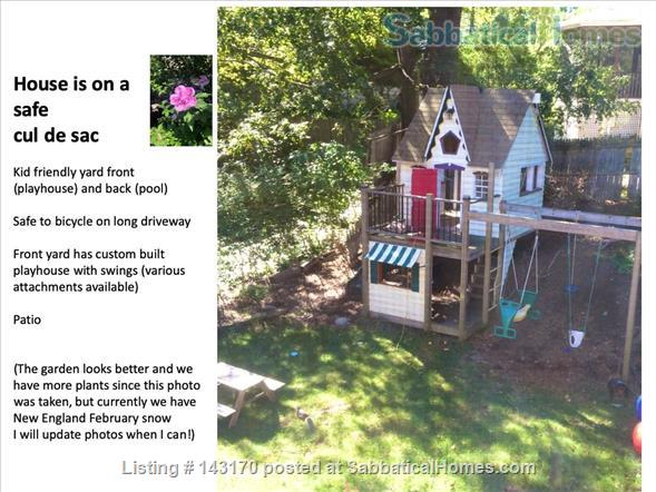 Furnished Private Family home in Newton Center 4 bed/2.5 bath home. Heated Inground Pool.  Oasis in the City.  Close to Harvard, Boston Universities and Longwood Medical Area. Home Rental in Newton, Massachusetts, United States 7