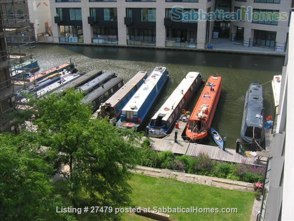 Light-filled flat in central London with canal view, superb transport connections, 24-hour security, all utilities. Walk to Eurostar and British Library. Home Rental in London, England, United Kingdom 7