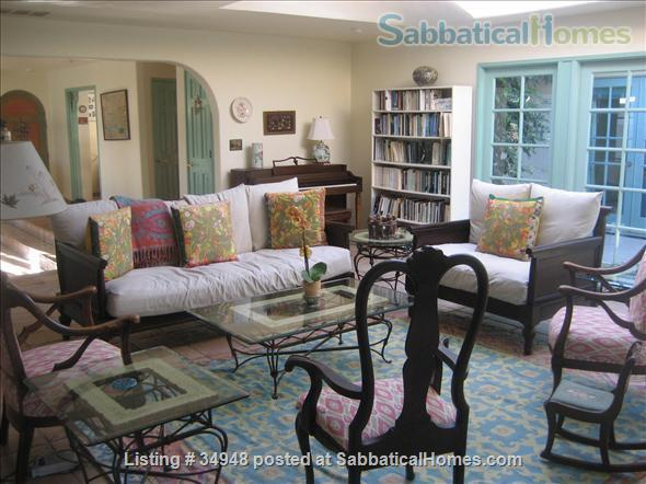 Beautiful Santa Barbara home, 1/2 block from ocean,  with pool, garden, handcrafted details,fireplaces, Home Rental in Santa Barbara, California, United States 0