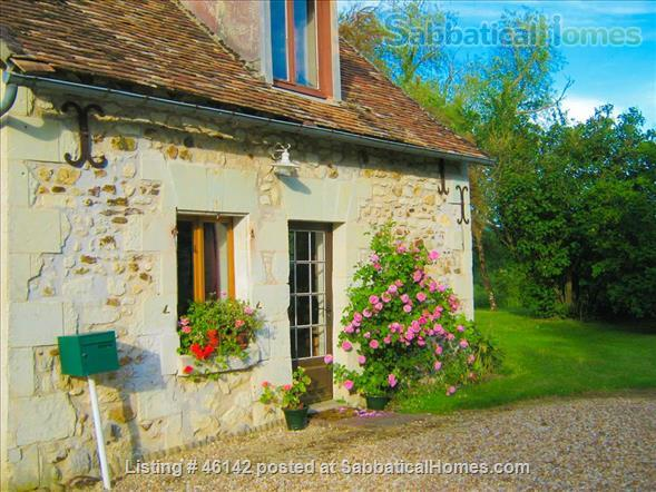 Haven in Touraine —  Charming restored country cottage with large fireplace and apparent beams, surrounded by park-like garden, fields and forest.  Home Rental in Bossay-sur-Claise, Centre-Val de Loire, France 1