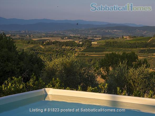 Indepent cool house on a Tuscan hill with splendid views, grand piano and private pool.  Between Florence and Siena. Adapted for sabbaticals by art lovers, musicians, writers, poets, artists.... Home Rental in Lucardo, Toscana, Italy 7
