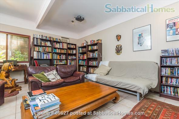 Family home in a bush setting close to The University of Queensland & schools. 3 bedroom, library, music room, study + Pool, privacy, space. Home Rental in Brisbane, QLD, Australia 9